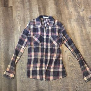 Plaid buttoned down collared top